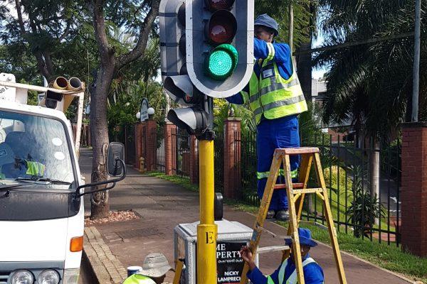Pedestrian Light raised on Florida Rd