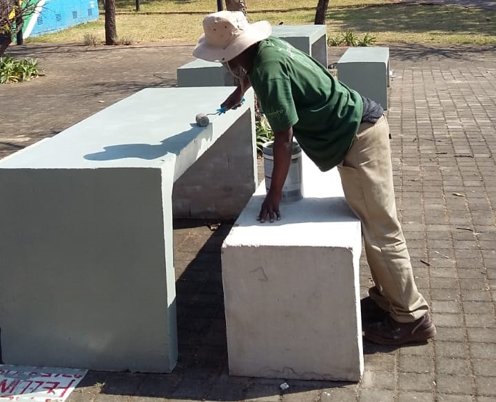 Benches And Tables Painted